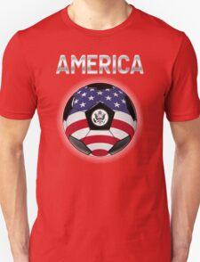 America - American Flag - Football or Soccer Ball & Text T-Shirt