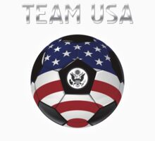 Team USA - American Flag - Football or Soccer Ball & Text Kids Clothes
