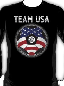 Team USA - American Flag - Football or Soccer Ball & Text T-Shirt