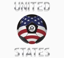United States - American Flag - Football or Soccer Ball & Text Kids Tee