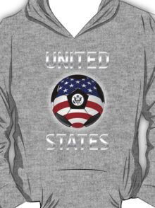 United States - American Flag - Football or Soccer Ball & Text T-Shirt