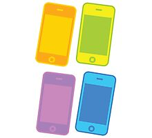 Four blank mobile cell phones in colours Photographic Print