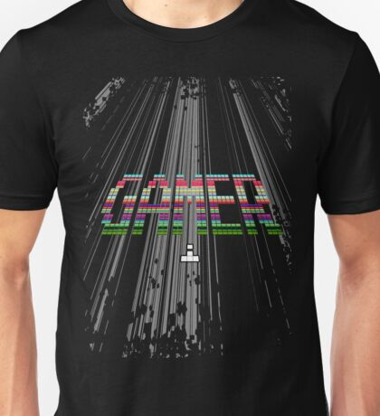 Gamer - Retro Arcade Pixel Text Unisex T-Shirt