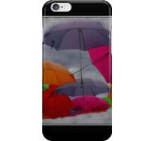 Cloudy with a Chance of Umbrellas Poster iPhone Case/Skin
