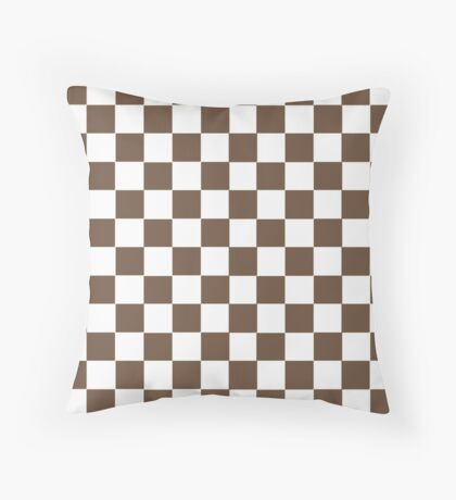 Brown and White Squares Pattern Print Throw Pillow