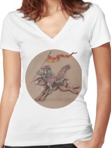 Squirrel in Shining Armor with trusted Bunny Steed  Women's Fitted V-Neck T-Shirt