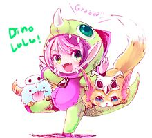 League Of Legends - Dino Lulu by mariafumada