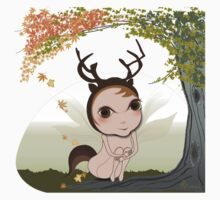 Deery Fairy under Autumn Leaves One Piece - Short Sleeve