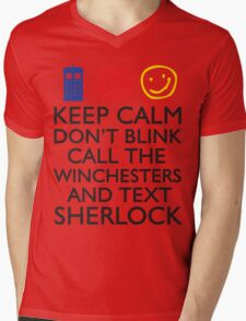 SUPERWHOLOCK SUPERNATURAL DOCTOR WHO SHERLOCK Mens V-Neck T-Shirt