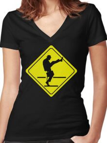 Silly Walks Crossing Women's Fitted V-Neck T-Shirt