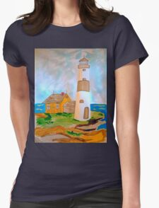 The Lighthouse by the Sea Womens Fitted T-Shirt