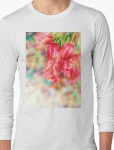 Bokeh Background with Tulips Long Sleeve T-Shirt