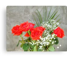Bouquet with Red Roses Canvas Print