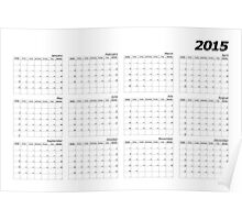 2015 right wall planner landscape italic month start Sunday Poster