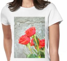 Bouquet with Red Roses 3 Womens Fitted T-Shirt
