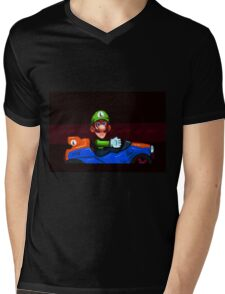 Luigi Death Stare Mens V-Neck T-Shirt