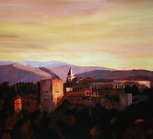 Alhambra Granada Spain With Snow Covered Mountains From Albaicin by artshop77