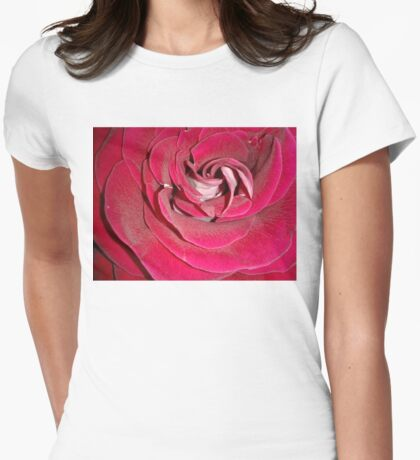 Closeup of Red Rose Womens Fitted T-Shirt