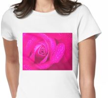 Closeup of Pink Rose Womens Fitted T-Shirt
