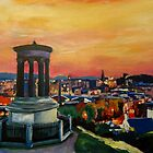 Edinburgh Scotland Skyline With Arthurs Seat At Dusk by artshop77