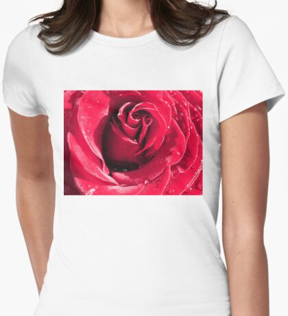 Closeup of Red Rose 3 Womens Fitted T-Shirt