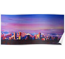 Denver Colorado Skyline With Luminous Rocky Mountains Poster