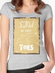 Beach poster sand in our toes Women's Fitted Scoop T-Shirt