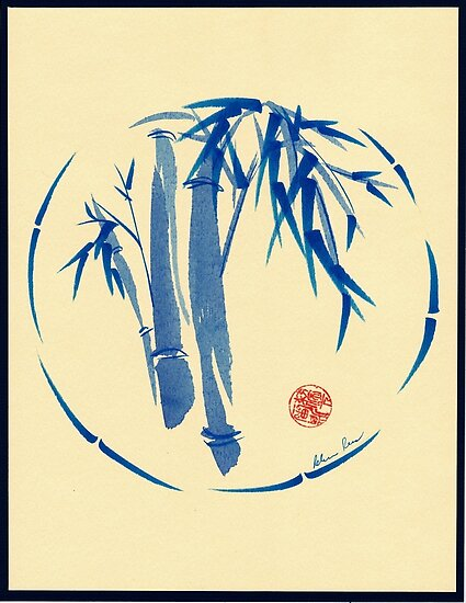 """enso blu""  Original enso sumi-e ink brush pen wash painting by Rebecca Rees"