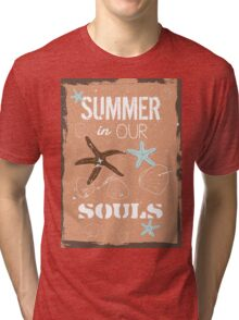 Summer quote poster the beach mood Tri-blend T-Shirt