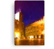 Volterra Tuscany, Piazza Dei Priori By Night Canvas Print