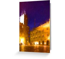 Volterra Tuscany, Piazza Dei Priori By Night Greeting Card