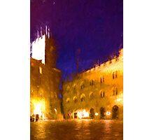 Volterra Tuscany, Piazza Dei Priori By Night Photographic Print