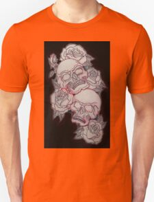 Skulls and Roses Pencil Drawing Unisex T-Shirt