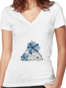 blue flowers in triangle Women's Fitted V-Neck T-Shirt