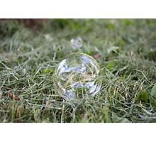 Bubble on Cut Grass Photographic Print
