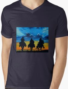 Cowboy Sunset Mens V-Neck T-Shirt