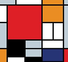 Mondrian Composition With Large Red Plane by Jeffest