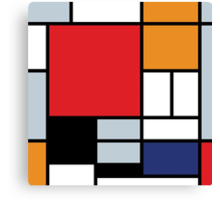 Mondrian Composition With Large Red Plane Canvas Print
