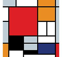 Mondrian Composition With Large Red Plane Photographic Print