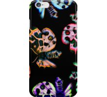 neon moths on black iPhone Case/Skin