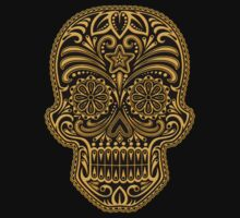 Intricate Yellow and Black Sugar Skull T-Shirt