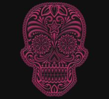 Intricate Pink and Black Sugar Skull T-Shirt