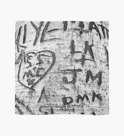 Love messages carved in the tree in Lover's Lane, Green Gables Scarf