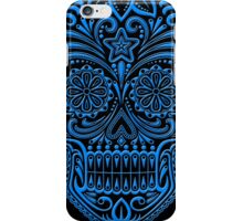 Intricate Blue and Black Sugar Skull iPhone Case/Skin