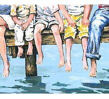Family on Dock by Robin (Rob) Pelton