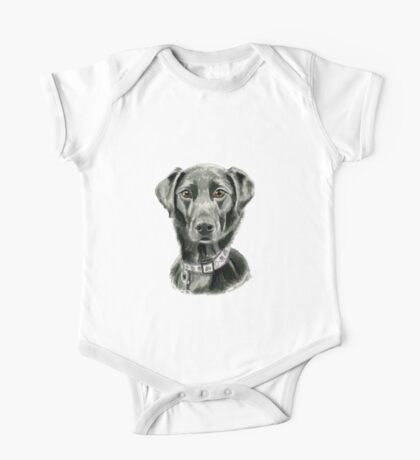 Black Dog Watercolor Painting One Piece - Short Sleeve