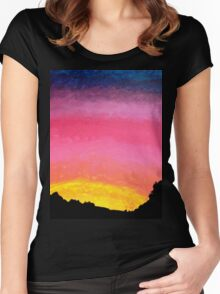 Sunset Painting with Tree Line Silhouette  Women's Fitted Scoop T-Shirt