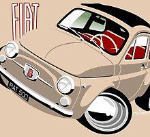 Classic Fiat 500F caricature beige by car2oonz