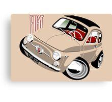 Classic Fiat 500F caricature beige Canvas Print