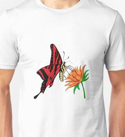 Red Butterfly Sitting on an Orange Flower Unisex T-Shirt
